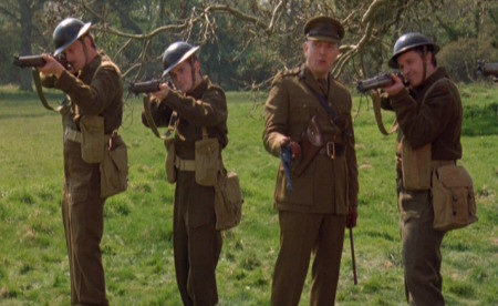 Screenshot from Churchill: The Hollywood Years showing me in a scene with Rik Mayall