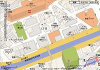 Map of downtown Tokyo, Japan from google.co.jp