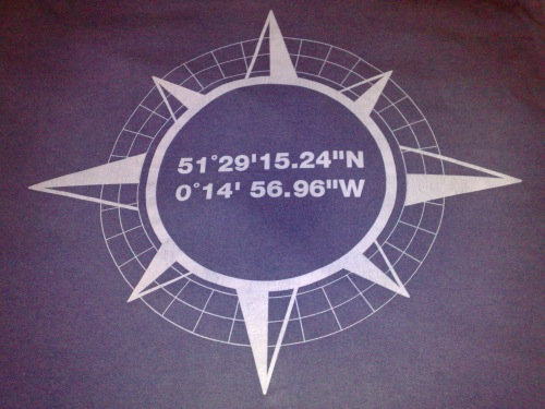 Co-ordinates on the back of a Fuller's Discovery promotional t-shirt