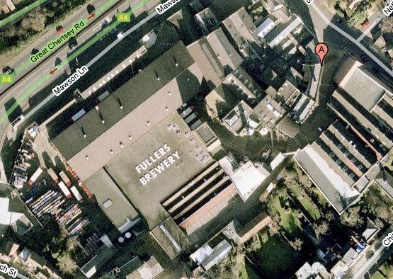 Aerial view of Fuller's Brewery, London