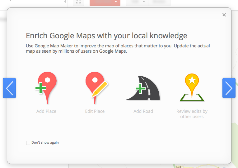 Google Map Maker welcome screen
