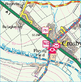 Crosby, Isle of Man - 1:25,000 Isle of Man Government map (2007)