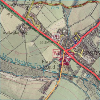 Crosby, Isle of Man - OpenStreetMap, Isle of Man Government aerial imagery (2001) and 1:25,000 map (2007)