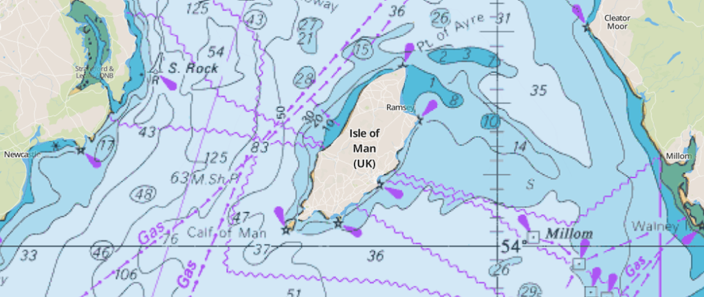 Map of the Isle of Man with Marine Charts overlaid